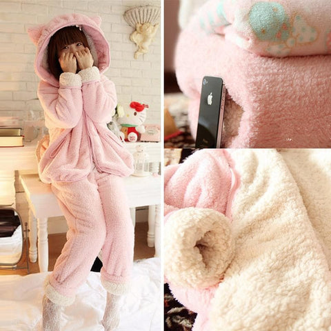 Pink Bunny Ear Fleece Home Wear Pajamas Set SP164925 - SpreePicky  - 1