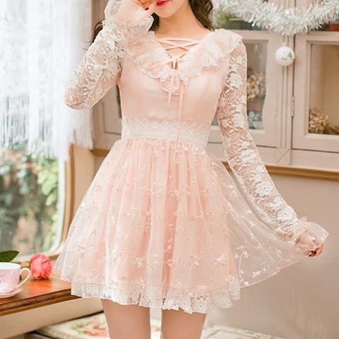 Pink Floral Princess Bowknot Lace Long Sleeve Dress SP178900