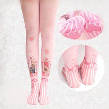 Load image into Gallery viewer, Pink Lolita Love Cats Printed Tights SP165956