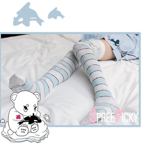 Polar Bear Printing Overknee Socks SP178823