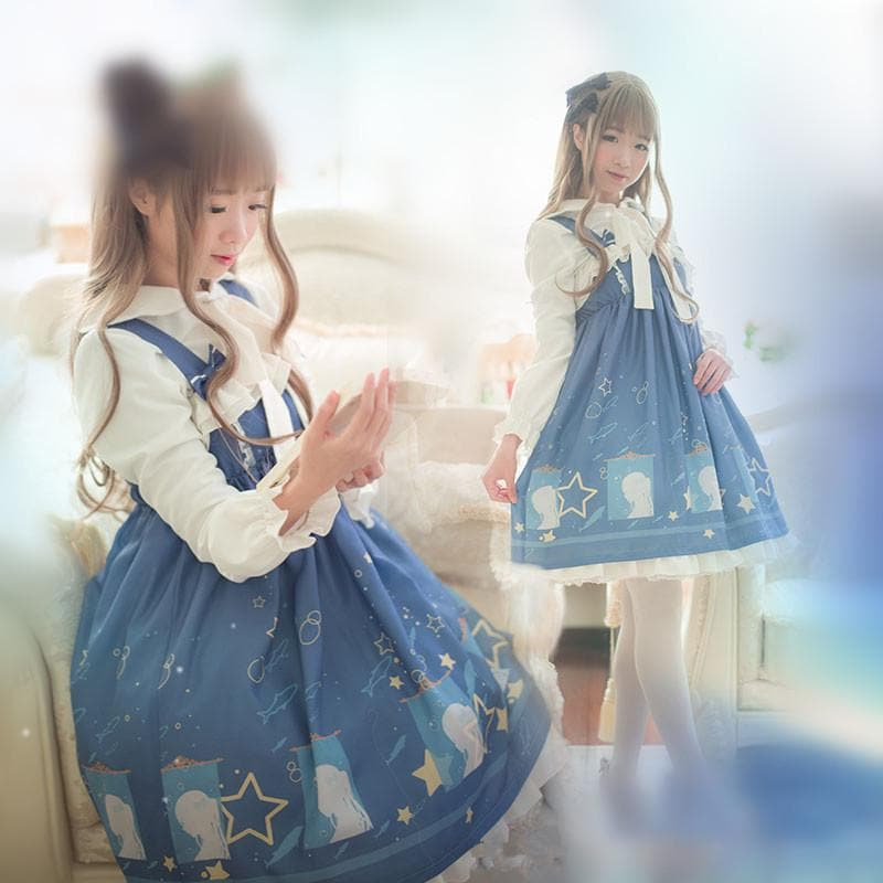 [Reservation] S/M/L Lolita Navy Stars Blouse/Dress SP166080