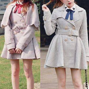 [Reservation] S/M/L Pink/Grey Retro England Style Cape Coat SP153644 - SpreePicky  - 1
