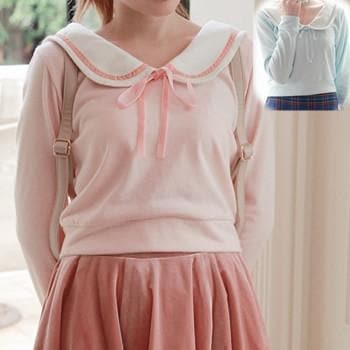 [Reservation] S/M Blue/Pink Sailor Collar Knitted Sweater SP153647 - SpreePicky  - 1