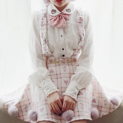 [Reservation] S/M Red/White [Alice In Wonderland] Suspender Skirt SP154412 - SpreePicky  - 1