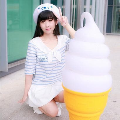[Reservation] White Cutie Seal Beret Hat SP153426 - SpreePicky  - 3