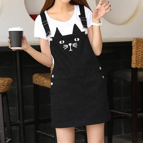 S-3XL Black Cutie Neko Kitty Cat Suspender Dress SP153320 - SpreePicky  - 1
