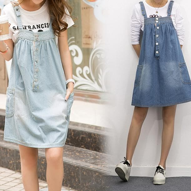 S-4XL Blue Denim Sweet Girl Suspender Dress SP153321 - SpreePicky  - 1