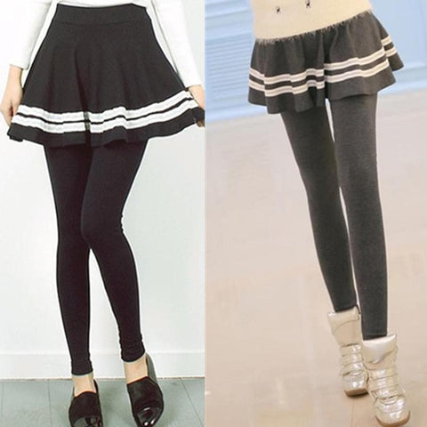 S-XL 3 Colors Pleated Skirt Leggings Pants Skirt SP153525