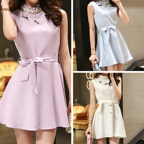 S-XL Beige/Blue/Purple Sweet Princess Sleeveless Dress SP165935