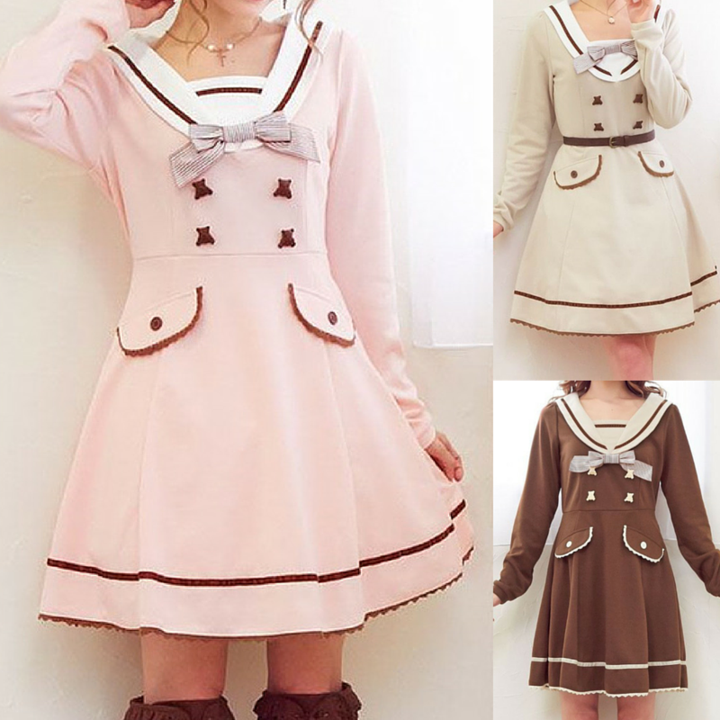 S-XL Pink/Khaki/Brown Sweet Seifuku Long Sleeve Dress SP165597