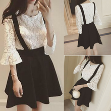 Load image into Gallery viewer, S-XL White/Black Elegant Two-Piece Top/Suspender Skirt SP166112