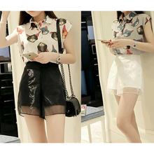 Load image into Gallery viewer, S-XL White/Grey/Black Cute Neko Cat Two-Piece Set Chiffon Top/Shorts SP166110