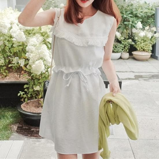 S-XL White Elegant Sleeveless Summer Dress SP165617