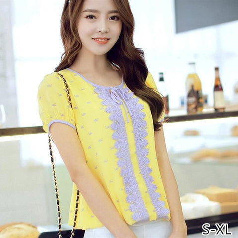 S-XL Yellow Lace Puffy Blouse SP152614 - SpreePicky  - 1