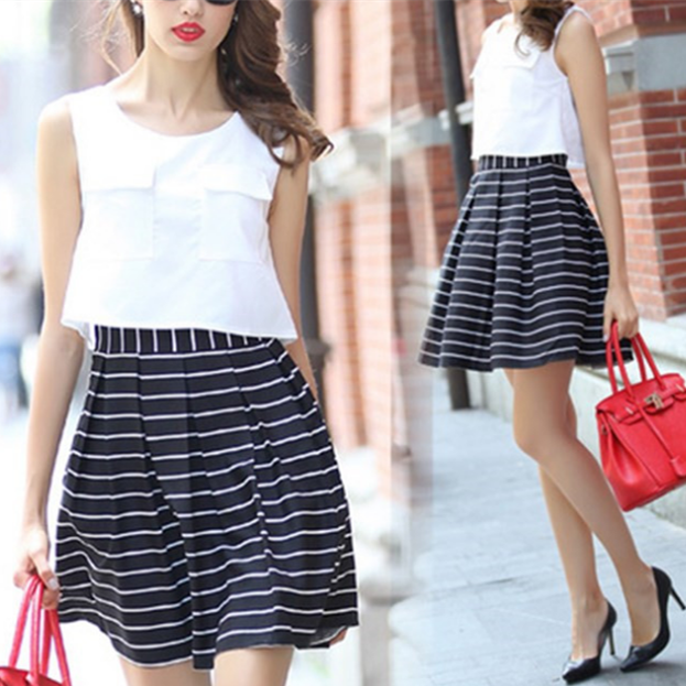 S/M/L/XL Elegant Stripe Cotton Sleeveless Dress SP165435