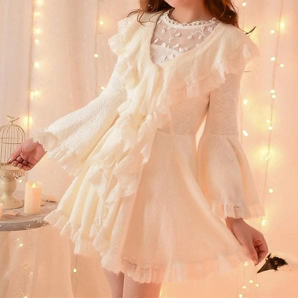 S/M/L Apricot Ruffle Sleeve Princess Dress SP153626 - SpreePicky  - 1