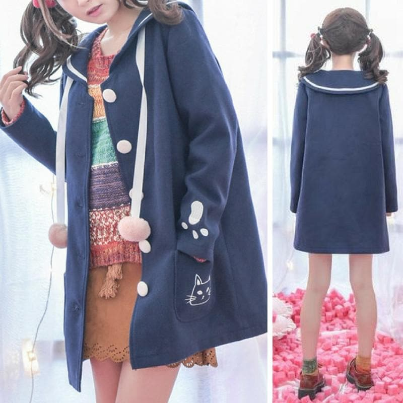 S/M/L Blue Kawaii Cat Embroidery Woolen Coat SP168055