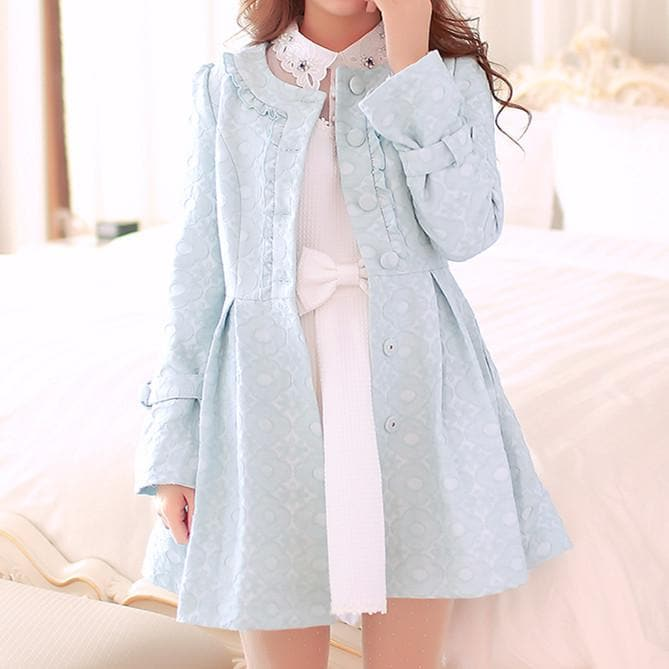 S/M/L Light Blue Princess Bow Lace Coat SP154532 - SpreePicky  - 1
