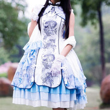 Load image into Gallery viewer, S/M/L Lolita Classical Chinese Style White Tiger Dress/Tippet Cosplay Costume SP165440