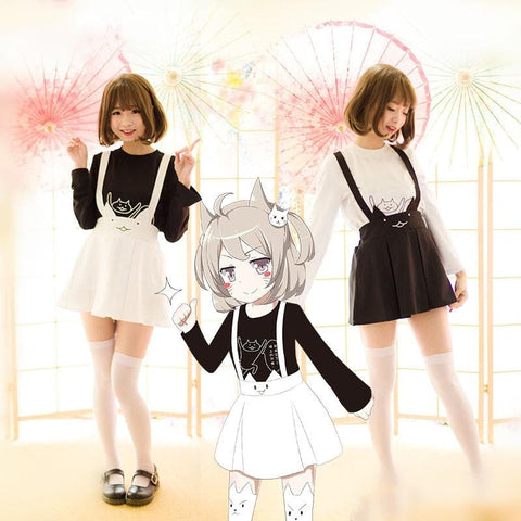S/M/L Lolita Neko Cat T-Shirt/Suspender Skirt SP165346