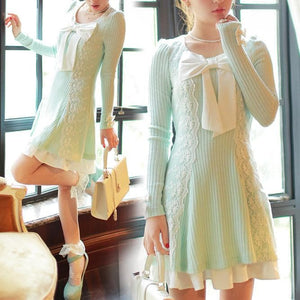 S/M/L Pastel Green Sweet Princess Long Sleeve Knitted Dess SP153502 - SpreePicky  - 2