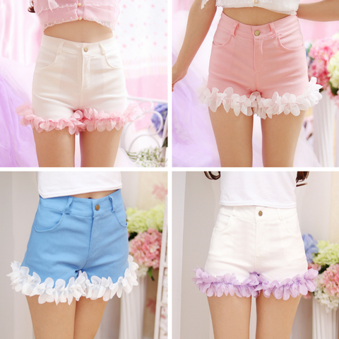 S/M/L Pink/Blue/White Sweet Flower Shorts SP166792