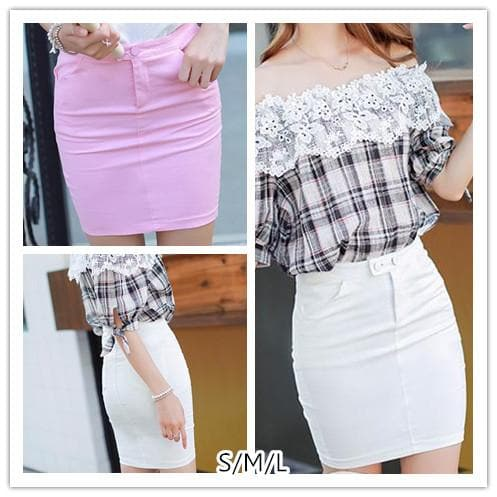 S/M/L Pink/White Office Lady Hip Skirt SP152602 - SpreePicky  - 1