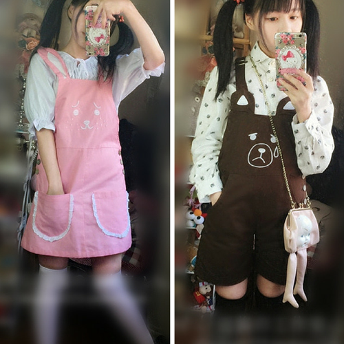 S/M/L Pink Rabbit/Brown Bear Kawaii Lolita Suspender Trousers/Suspender Dress SP165159