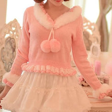 Load image into Gallery viewer, S/M/L Pinky Sweet Cutie Falbala Pullover Sweater SP154418 - SpreePicky  - 1