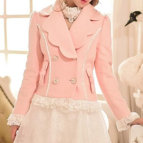 S/M/L Pinky Wave Collar Double-breasted Coat SP153623 - SpreePicky