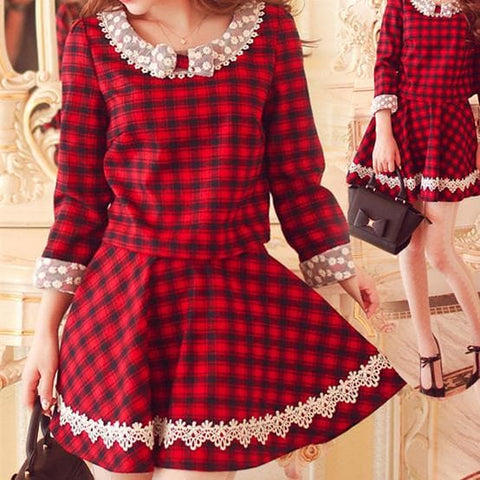S/M/L Red Grids Dolly Lace Top/Skirt SP153497/SP153856 - SpreePicky  - 1