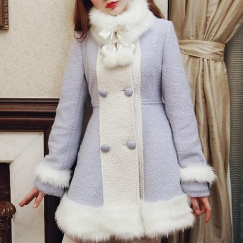 S/M/L [Reservation]Light Blue/Pink Winter Fluffy Fleece Coat SP154413 - SpreePicky  - 1