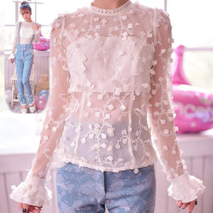 S/M/L Snow Dots Lace Top SP153419 - SpreePicky  - 1
