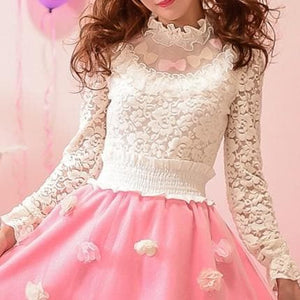 S/M/L Sweet Lace Bottoming Shirt Blouse SP153614 - SpreePicky  - 1