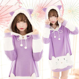 "S/M/L [The ""Hentai"" Prince and the Stony Cat] Tsukiko Cat Ear Fleece Hoodie Jumper SP154329 - SpreePicky  - 1"