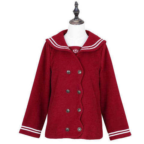 S/M/L Wine/Navy Sailor Sakura Embroider Woolen Uniform Coat SP154675 - SpreePicky  - 1