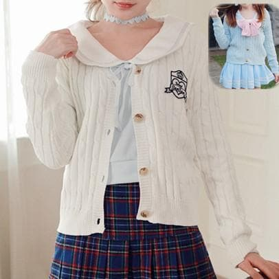 S/M Blue/White School Uniform Cardigan Jacket SP153646 - SpreePicky  - 1