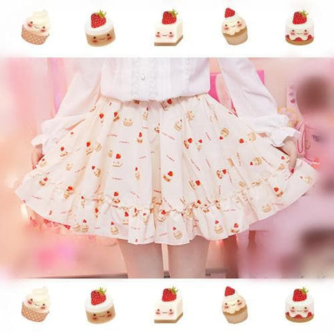 S/M Creamy-White Lovely Sweet Cream Cupcake Printed Skirt Only SP165918