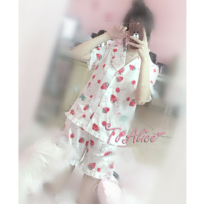 S/M Pink/White Strawberry Cherry Printing Two Pieces Sleepwear Set SP167106