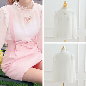 S/M Double Heart Cut Out White Blouse SP165873 - SpreePicky FreeShipping