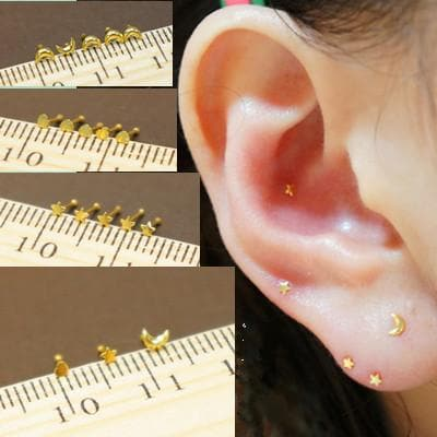 Silver/Golden Mini Star/Moon/Heart Ear Stud SP164868 - SpreePicky  - 1