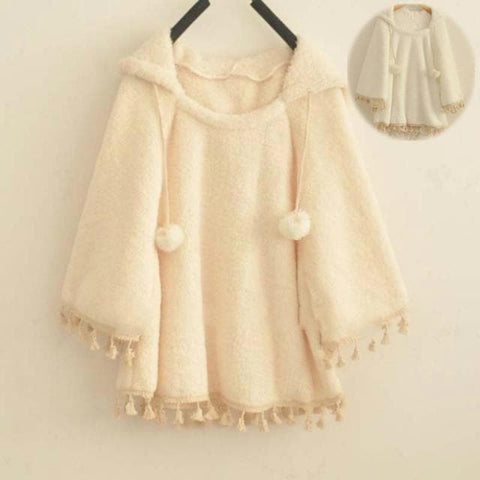 White/Apricot Winter Fluffy Hoodie Cape SP153487