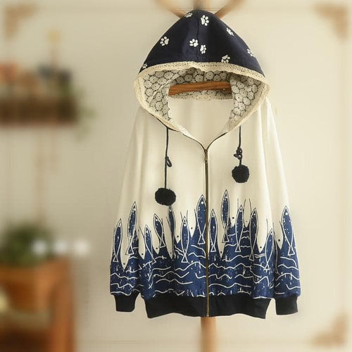 White/Biege Cutie Fishes Hoodie Sweater Coat SP154311 - SpreePicky  - 1