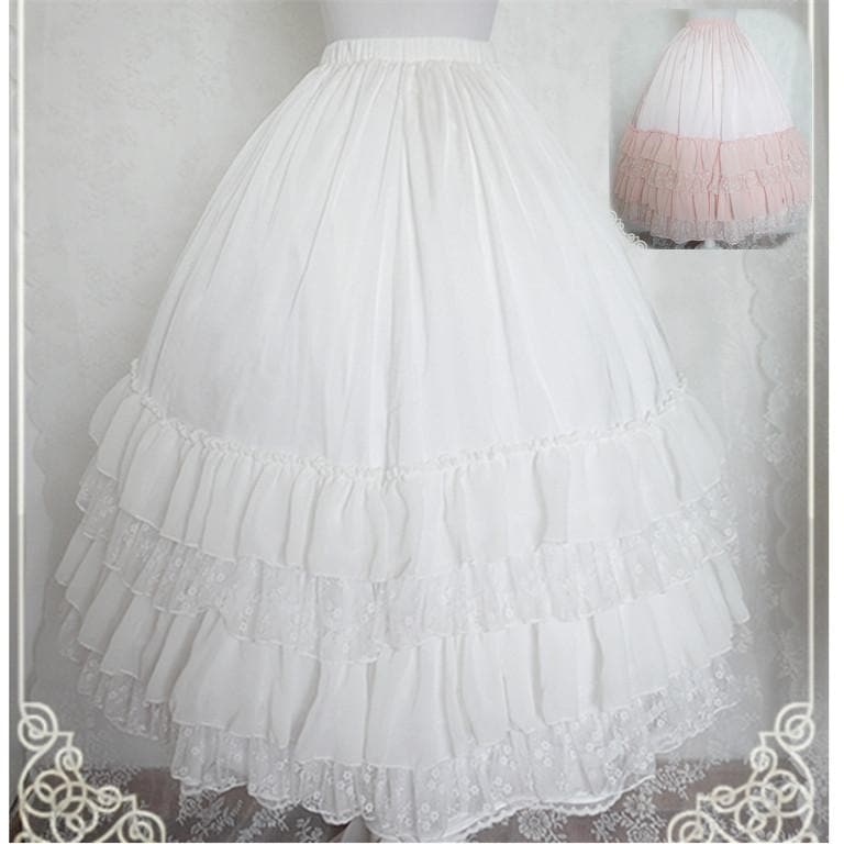 White/Black/Orange Pink Lolita Long Skirt Petticoat SP141087 - SpreePicky  - 1