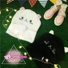 Load image into Gallery viewer, White/Black Cutie Kitty Hoodie Hat SP154278 - SpreePicky  - 1