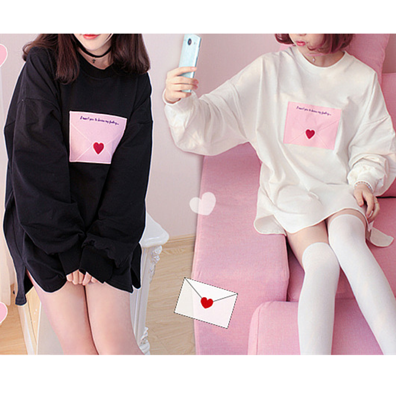 White/Black Kawaii Envelope Pattern Cotton Jumper SP165920