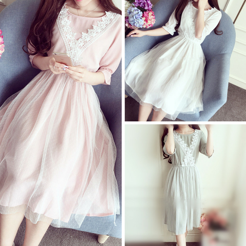 4 Colors Princess Lace Chiffon Dress SP166406