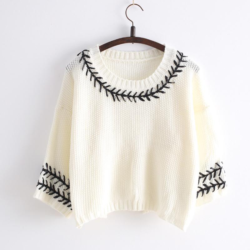 White/Navy Mori Girl Embroider Short Sleeve Fleece Sweater SP154029 - SpreePicky  - 1