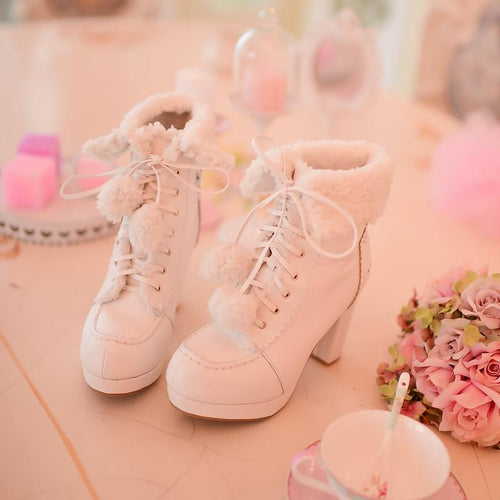 White/Pink/Apricot Fluffy Snowball Platform Heigh Heel Shoes SP154483 - SpreePicky  - 1