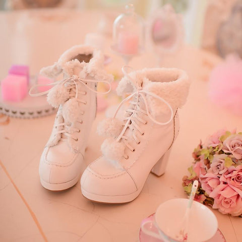 White/Pink/Apricot Fluffy Snowball Platform Heigh Heel Shoes SP154483